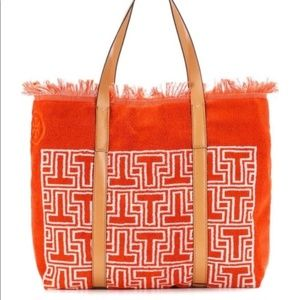 Tory Burch Towel Tote Orange Terry Leather NEW